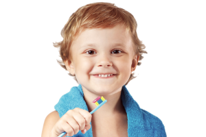 A young child with a toothbrush