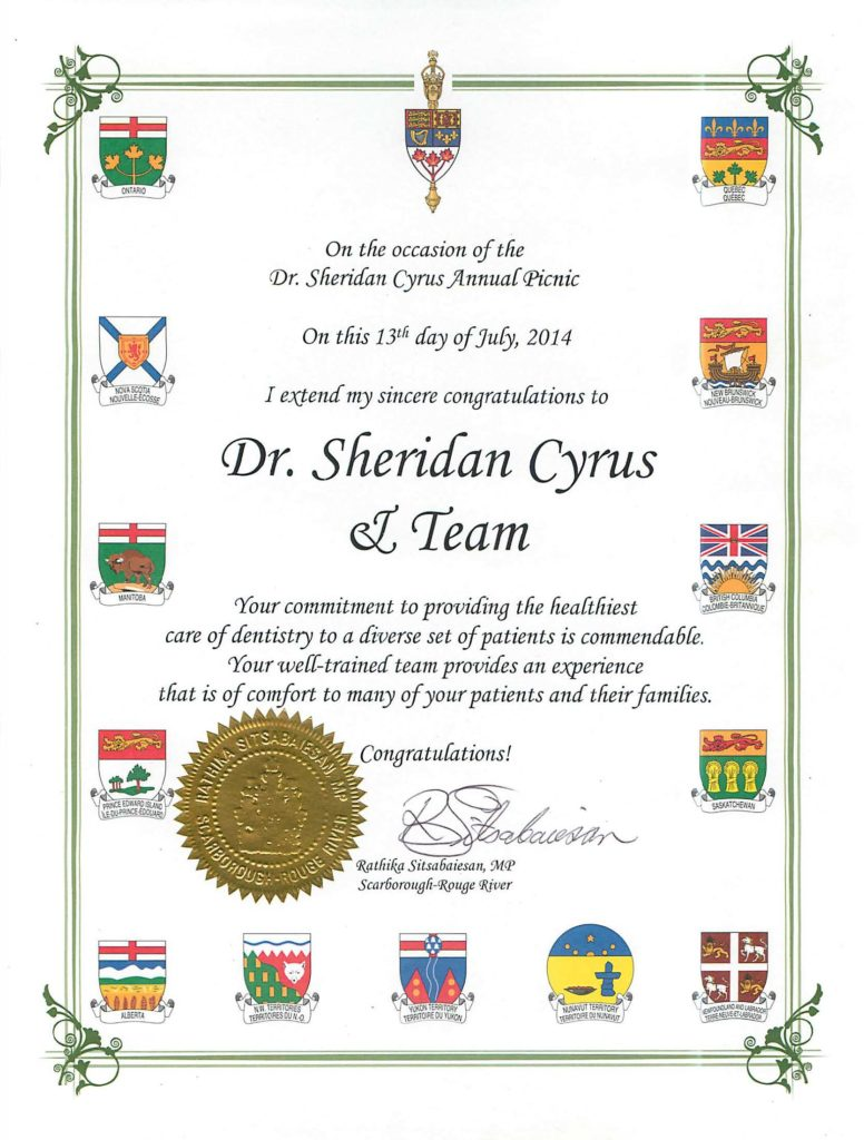 A certificate commending Dr. Cyrus Sheridan and his team for excellent services