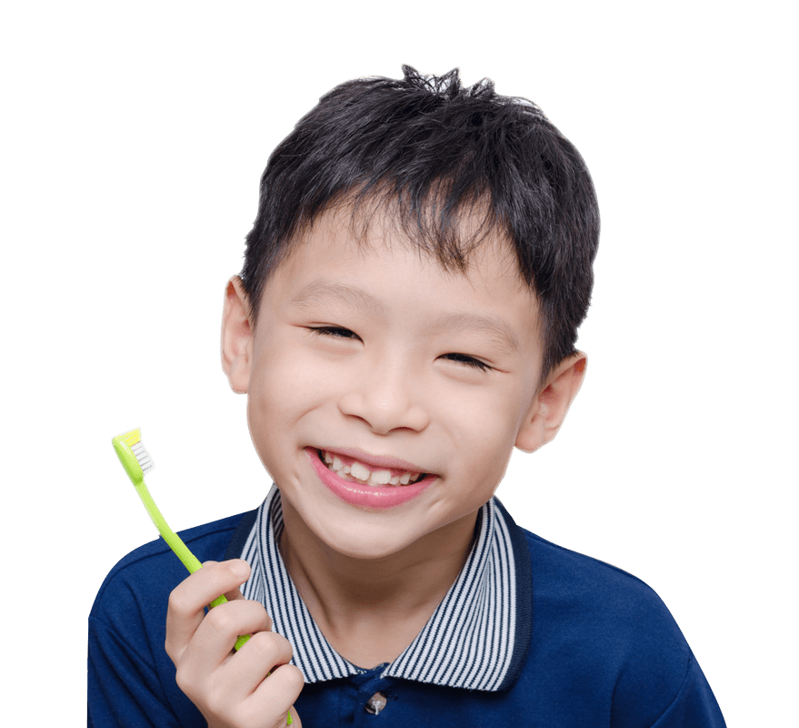A child with a toothbrush